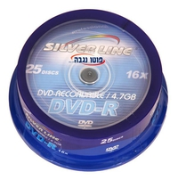 דיסקים לצריבה SilverLine DVD-R x16 4.7GB Media 25-Pack