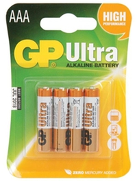 GP AAA 1.5V Ultra High Performance Alkaline Battery Pack of 4 במלאי